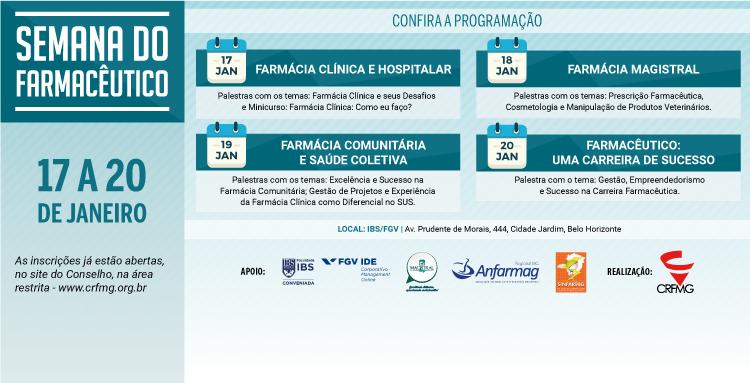 Inscrições já estão abertas, na área restrita do site do CRF/MG; comemorações encerram com entrega da Comenda do Mérito Farmacêutico