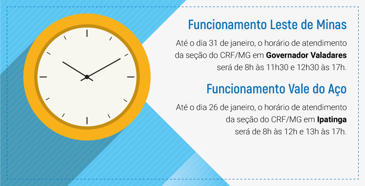 Fique atento ao horário de atendimento das seções do CRF/MG em Governador Valadares e Ipatinga