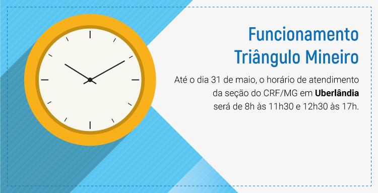 Fique atento ao horário de atendimento da seção do CRF/MG em Uberlândia