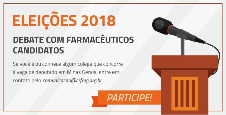 O CRF/MG vai realizar um debate com farmacêuticos candidatos para que toda a categoria possa conhecer as propostas e ideias dos colegas que concorrem para deputado em Minas Gerais
