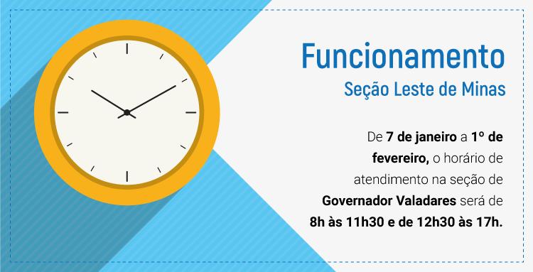 Seção de Governador Valadares fechado para o almoço de 07/01/19 a 01/02/2019