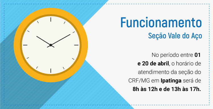 Fique atento ao horário de funcionamento da seção do CRF/MG em Juiz de Fora