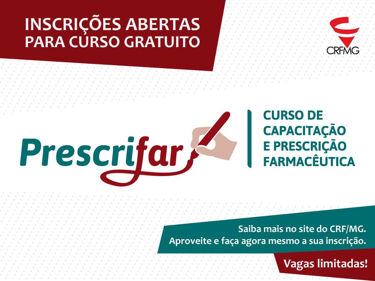 CRF/MG abre inscrições para o Prescrifar -  curso gratuito de Capacitação em Prescrição Farmacêutica
