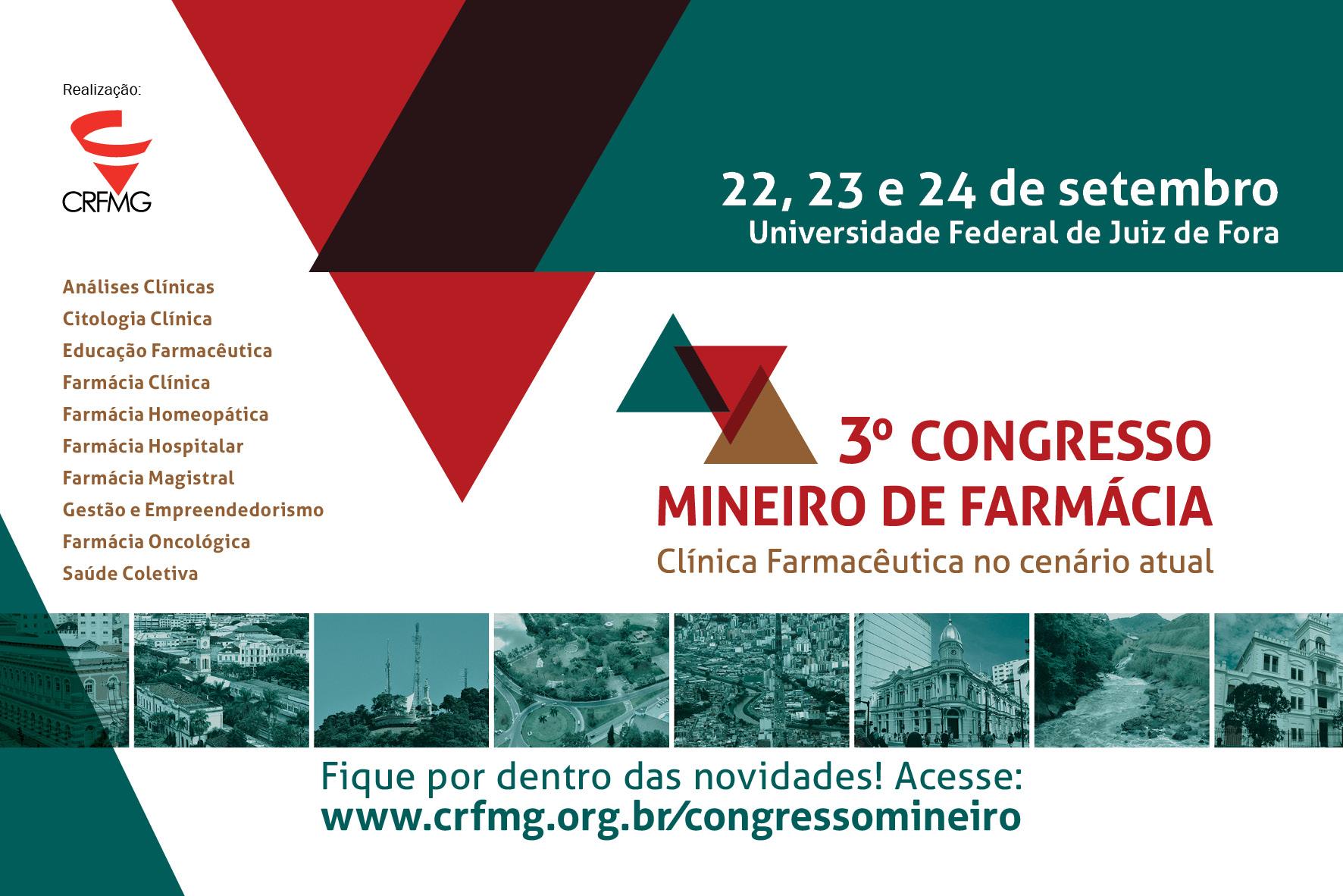 Congresso Regional de Farmácia de Minas Gerais acontece em setembro, em Juiz de Fora