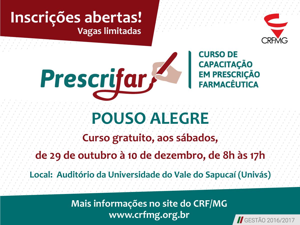 Inscrições abertas para Prescrifar em Pouso Alegre!