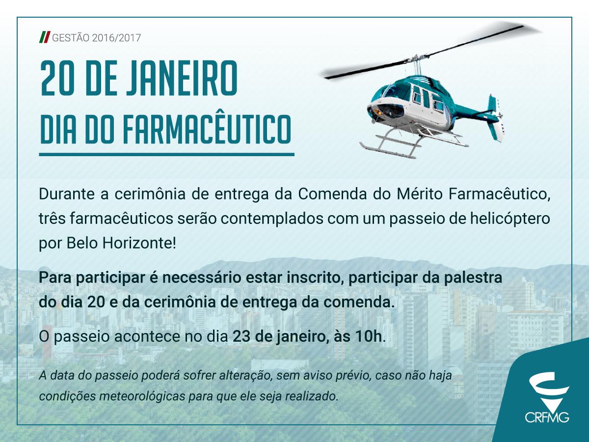 Três farmacêuticos serão contemplados com passeio de helicóptero durante as comemorações da Semana do Farmacêutico