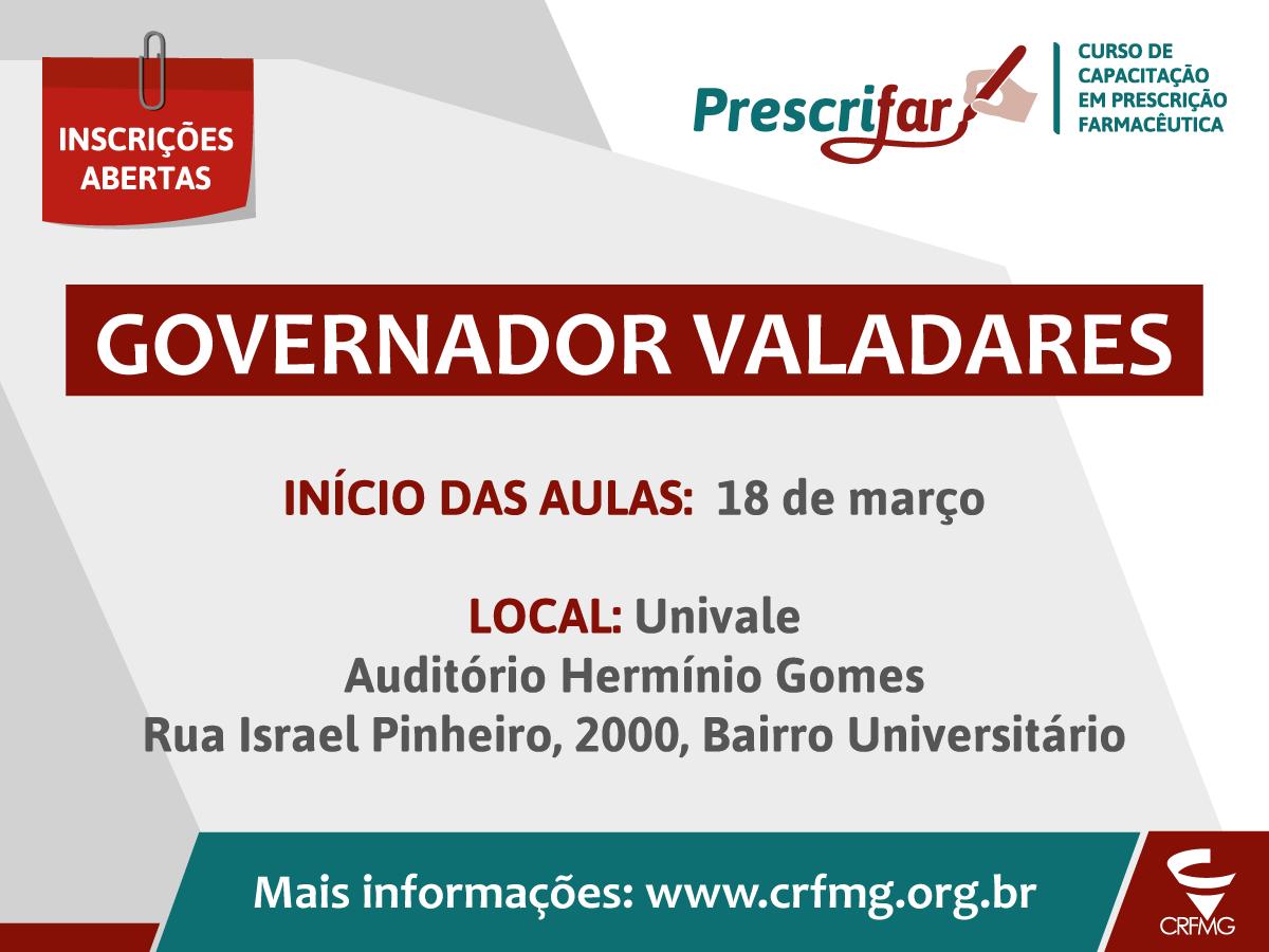 CRF/MG abre inscrições para o Prescrifar, em Governador Valadares