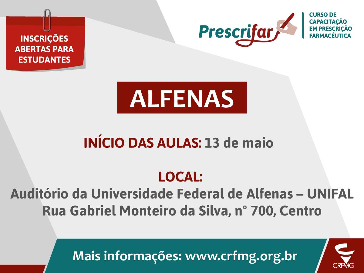 CRF/MG abre inscrições para o Prescrifar em Alfenas