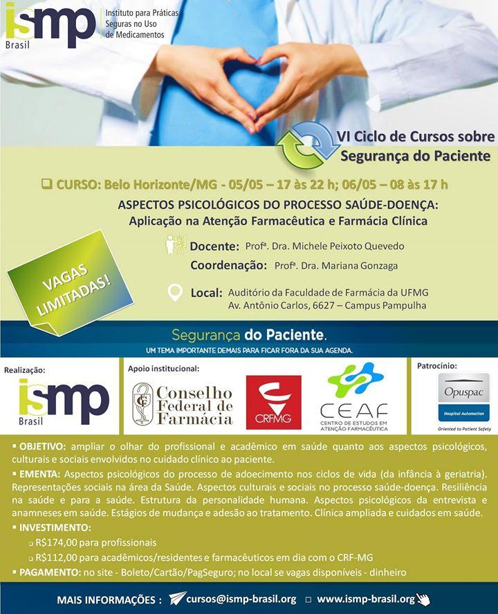 CRF/MG antecipa sorteio de bolsas para curso sobre Aspectos Psicológicos do Processo Saúde-Doença