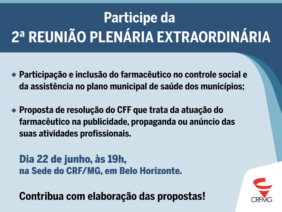 Plenária Extraordinária do CRF/MG vai discutir somente temas técnicos