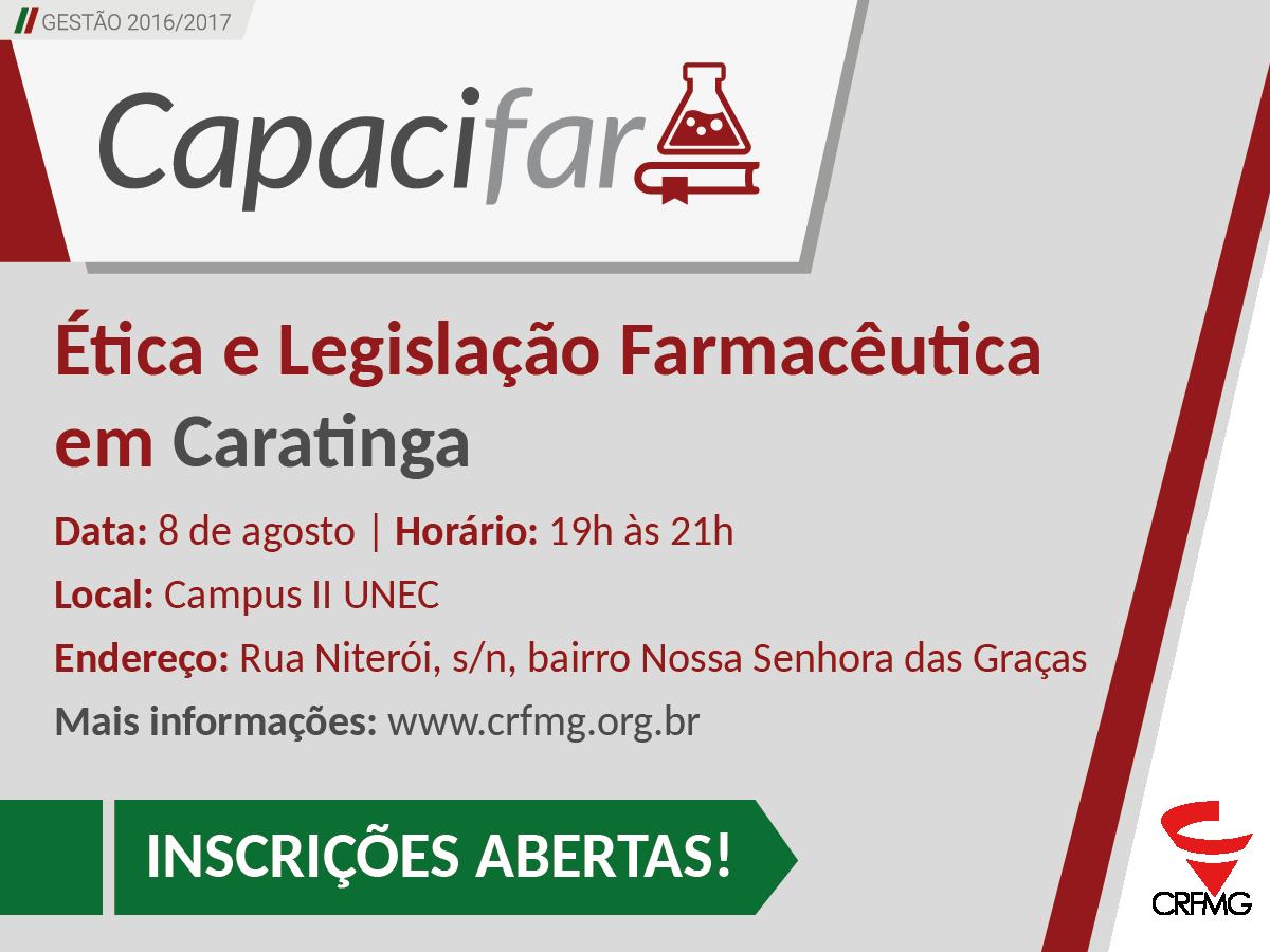 Inscrições abertas para o Capacifar Ética e Legislação, em Caratinga