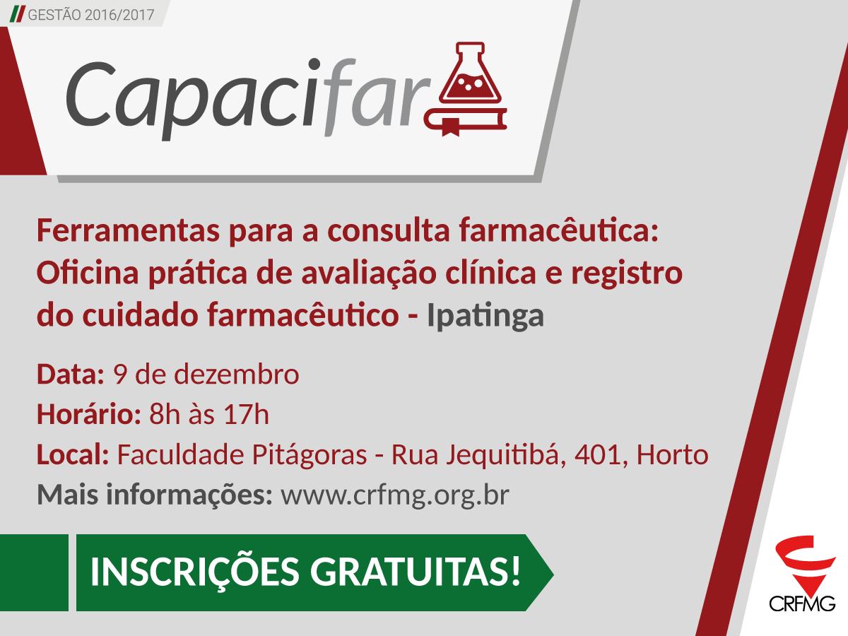 CRF/MG oferece, em Ipatinga, oficina prática sobre serviços clínicos farmacêuticos