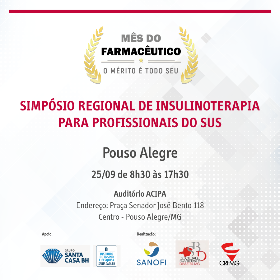 Inscrições para o Simpósio Regional de Insulinoterapia para Profissionais do SUS em Pouso Alegre já estão abertas