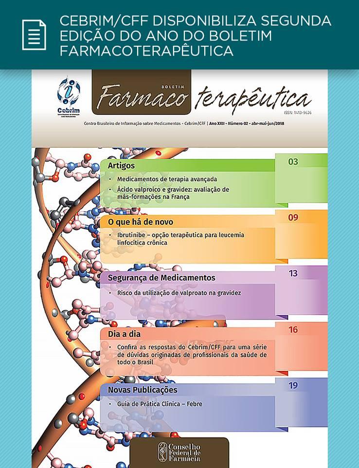 Cebrim/CFF disponibiliza edição n°02/2018 do Boletim Farmacoterapêutica